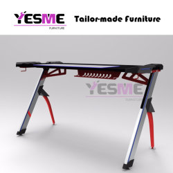 2020 Latest Design E-Sport LED Cafe Table PC Computer Electronic Easy Gaming Desk with Carbon Desktop
