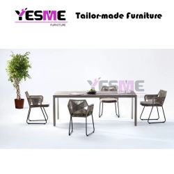Chinese Modern Outdoor Furniture Leisure Garden Furniture Hotel Living Area Rattan Rope Chair Ceramic Table