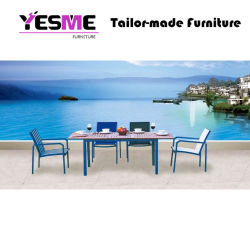 Modern Hotel Wooden Table and Metal Chair Leisure Home Outdoor Garden Furniture Set