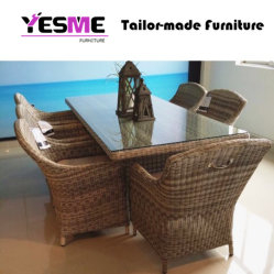 Garden Home Patio Dining Table Dining Chair Set Brown Rattan Furniture
