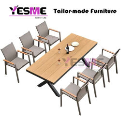 Outdoor Garden Commercial Furniture Aluminum Dining Set/ Patio Chairs Aluminum Table Dining Table Set