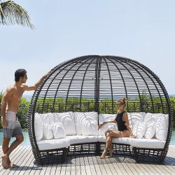 Lounge Set Rattan Round Sun Bed Canopy Black Poly Wicker Sunbed Daybed, Sofa, Chair Furniture Outdoor Garden & Pool Party
