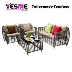 Wholesale Flat Pack DIY Rattan Furniture Outdoor Sofa Rattan Wicker Sofa Garden Cheap Rattan Garden Sofa