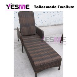 Outdoor Sun Loungers Beach Poolside Garden Daybed Metal Base Rattan Furniture