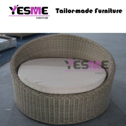 Modern Outdoor Garden Hotel Poolside Lounge Area Circular Seating Black and White Textilence Furniture