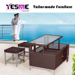 Modern New Design Rattan Outdoor Dining Chair Dining Double Deck Table Hotel Garden Furniture