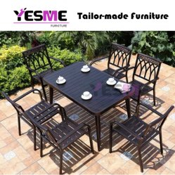 Outdoor Garden Commercial Furniture Aluminum Dining Set / Patio Chairs Aluminum Table Dining Table Set