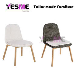 Modern Hotel Outdoor Furniture Garden Teak Wood Frame Rattan Garden Chair