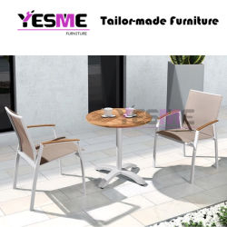 Outdoor Furniture Modern Garden Outdoor Home Livingroom Resort Hotel Leisure Aluminum Chair and Teak Table