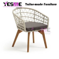 Outdoor Wicker Dining Chair Patio Rattan Dining Set Garden Stackable Teak Wood Chair Furniture